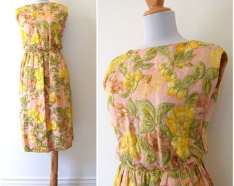 SUMMER SALE / 20% off Vintage 60s Pink Floral Beaded and Embroidered Brocade Wiggle Dress (size xs)