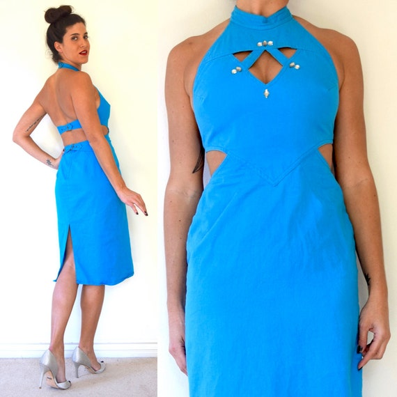 Vintage 80s 90s Turquoise Backless Cut Out Hourglass Silhouette Cotton Pencil Dress with Rhinestone Embellishments (size xs, small)