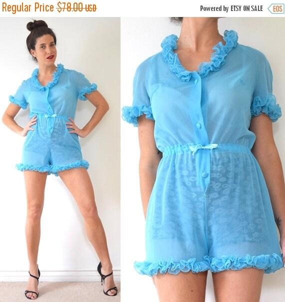 JANUARY SALE / 20% off Vintage 60s 70s Sky Blue Ruffled Pajama Romper (size small, medium)