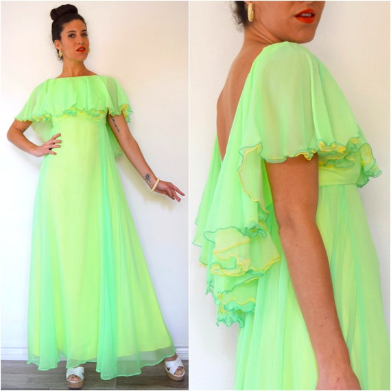 SPRING SALE/ 20% off Vintage 60s 70s Neon Green and Yellow Chiffon Scoop Back High Low Ruffled Bodice Floor Length Evening Gown (size xs, sm