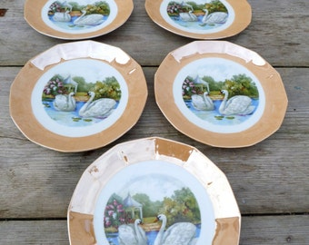 Vintage  French desert set 12 plates + one cake stand figuring Swans