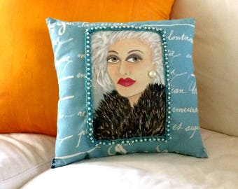 new..VANESSA SOFA PILLOW, hand painted, vintage pearl trim, Paris, silver hair, gift for her, decorative pillow, French blue, older woman,