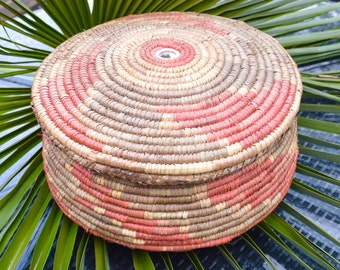 Large Tribal African Basket with Fitted Lid.  Tightly Hand Woven Coiled Design with Natural Dye Pattern. Mirror Insert to top. Storage Pot