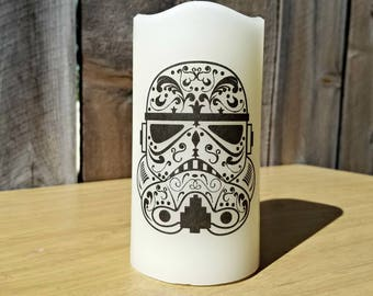 Stormtrooper Sugar Skull Flameless Large Pillar Candle