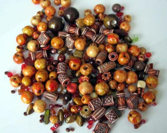 Mixed bag of warm-colored beads