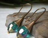 Cyber Monday Sale Green Emerald Crystal Earrings on Brass, Green Oval Earrings, Iridescent Emerald Dangle, AB Aurora Borealis