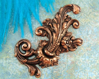 CLOSEOUT SALE Antique Copper Flourish Flower and Leaf Stamping - Jewelry Findings (C-107)