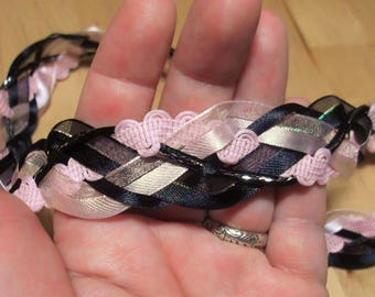 Wedding Handfasting Cord - Black and Pink with rose quartz hearts 43""