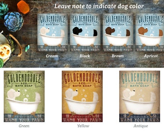 DOODLE labradoodle goldendoodle dog bath soap Company dog artwork on gallery wrapped canvas by Stephen Fowler