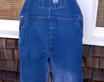 Big Smith Overalls, Waist sz 44, Inseam 29/30, Darker Denim, 80s vintage, all cotton Denim