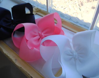 3 Toddler Hair Bows - Girls Hairbows - Choose Colors - Boutique Hair Bow - 4 Inch Bows - Solid Color Bow - 90+ Color Choices - Basic Hairbow
