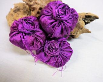 Lavender  Silk Cushions/ Sachets- Set off 3 Handmade - Deep Purple