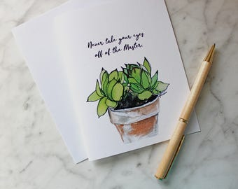 Set of Six SUCCULENT GREETING CARDS with Handlettered Font, Blank Cards, Watercolor Cards, Hens and Chicks Notecards