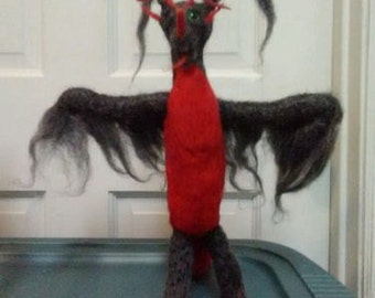 needle felted fantasy dragon Hand made Black Red