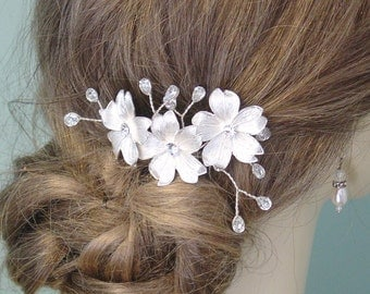 Wedding Comb Silver  with Flowers and  Rhinestones  Made to Order Ships in 1-2 weeks