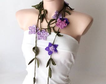 Dark Green Leaf and Lilac, Purple Flower Cotton Necklace, scarf, lariat