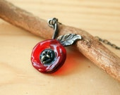 Red Poppy Sterling Silver Necklace, Red Lamp Work Necklace, Minimalist Red Flower Sterling Silver Necklace