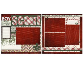 Boy Scout - 2 Coordinating Premade Scrapbook Pages
