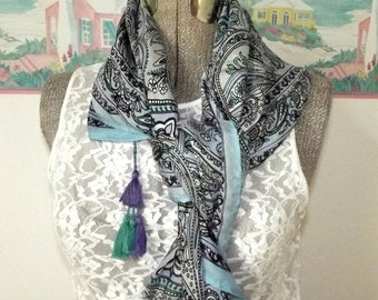 ON SALE Vintage Silk Scarf, Square, Shawl, Blue, Lavender, Turquoise, Stain Glass Window, Tassels