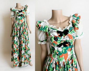 Vintage 1930s Dress - Floral Print Maxi Floor Length Gown with Black Velvet Bows - Flower Garden Bouquet - Cotton Seersucker - Small