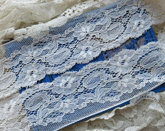 Antique French Lace Trim, Wide. Fine Cotton ...Vintage Edging Lace, Scalloped, Picot Edge...fabric arts, collage, crazy quilting - LY170208