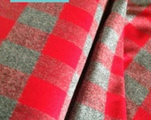 Hipster Flannel fabric, Red fabric, Flannel by the yard, Lumberjack Chic, Mammoth Flannel, Medium Plaid in Red/gray 124, Kaufman, Blanket
