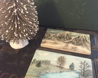 Pair of Small Painted Landscape Tiles