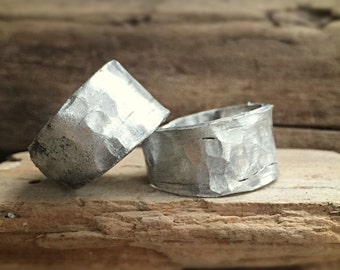 bliss hammered custom made band wedding in recycled fine silver