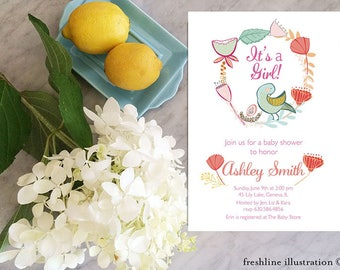 Printable Baby Shower Invitations Bird theme, It's a girl