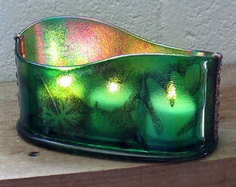 Garden Green Leaf Motif Fused Glass Oval Votive Candle Holder