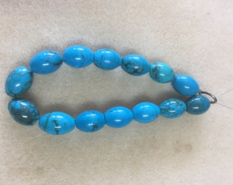 Natural Genuine Turquoise Oval Beads from Nevada 10x14mm