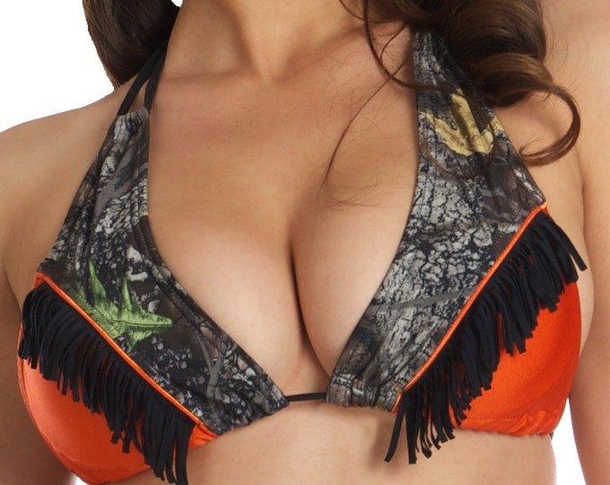 Margie Western Cowgirl Bikini Top in Orange and Mossy Oak XL ONLY