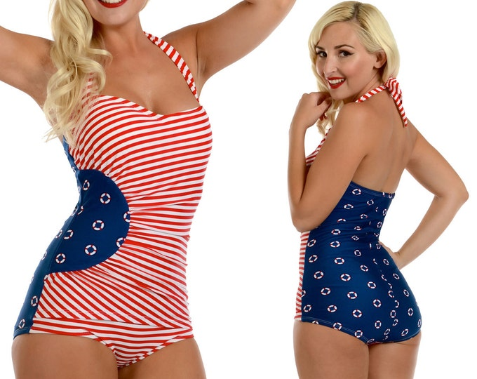 Gloria Swimsuit in Navy Lifering Print with Red and White Stripes XS only!!