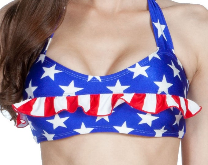 Grace Halter Bikini Top in Stars and Stripes