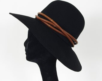 1960's Vintage Leather Rope Black Wide Brim Designer Hat by Bob Greene for Irene of New York
