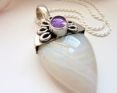 OOAK Creamy White Agate Purple Amethyst Sterling Silver Teardrop Flower Boho Hippie Gypsy Festival Gift for Her Pendant Necklace