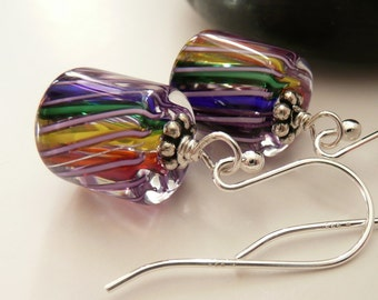 Artisan Rainbow Glass Swirl Sterling Silver Boho Hippie Fun Funky Gift for Her OOAK Earrings