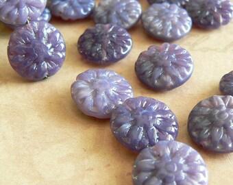 Milky Lavender Daisy Czech Glass Bead Flower Opal Purple White Picasso 14mm (8)