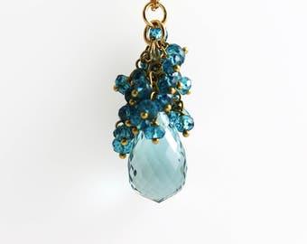 Aquamarine Pendant - 14k Gold - Aquamarine Jewelry - Cluster and Briolette