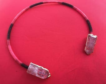 Dara Ettinger ALLISON Q Raw Quartz Choker Necklace in Red with red ombre cotton wrap