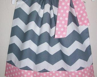 Pillowcase Dress, Chevron Dress, Grey and Pink Dress, Girls Dresses, Birthday Dress, Summer Dresses Toddler Dresses Baby Dresses Pink & Grey