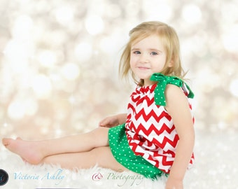 Pillowcase Dress with Chevron Dress Christmas Dress Red and Green Dress Girls Dresses Holiday Dresses Kids Clothes for Girls Italy Dress