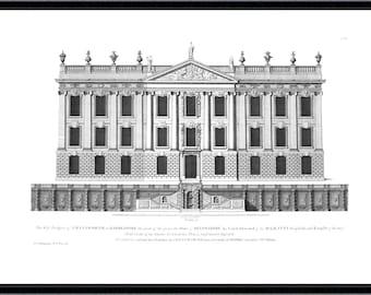 Chatsworth House architectural antique reproduction print architecture print vintage architecture print art