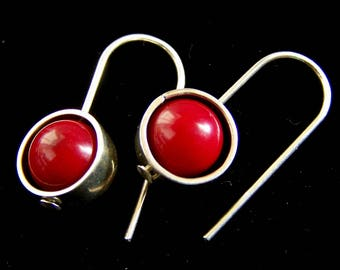 Red Coral earrings Sterling Silver Red Ball Dot 925 Modern Geometric Minimalist July birthstone PinkOwlJewelry unique Small earrings Simple