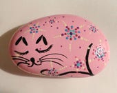 Hand Painted Stone -Sleeping Cat with Flowers! in Pink with Starburst Flowers! One of a Kind! #48