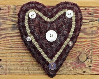 Primitive Rug Hooking - Folk Art Hand Hooked Heart Pillow with Vintage Buttons