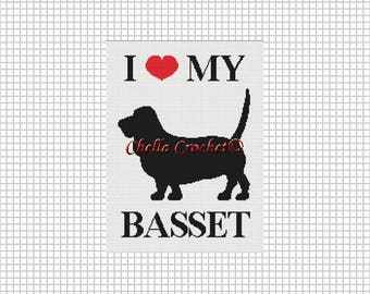 INSTANT DOWNLOAD Chella Crochet Pattern I Love My Basset  Dog  Afghan Pattern Graph Chart. .PDF