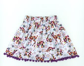 Geometric Rainbow Woodland Animals Skirt Size 7 with pom pom trim