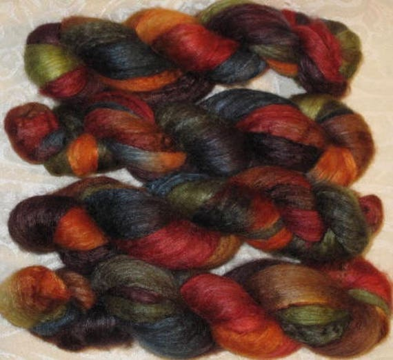 Handpainted Roving -- Blueface Leicester And Silk From