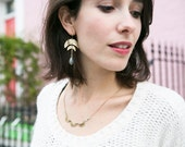 Double crescent moon earrings, labradorite gemstones, mystic moon jewelry, lunar